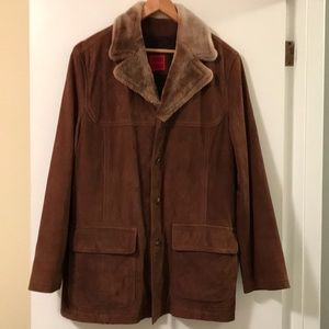 Cole Haan Country Wool Lined Leather Coat - Sz L